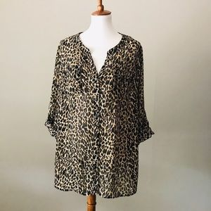 LANE BRYANT Leopard Animal Print Blouse 22/24